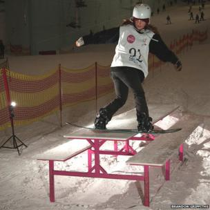 Isabel Jones at the English Slopestyle Championships in Trafford