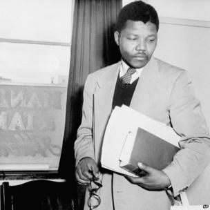 Nelson Mandela at his law office in 1952