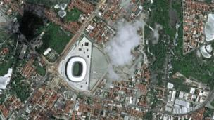 A handout picture released by Astrium Services shows a view from Pleiades Satellite, of Castelao Arena, Fortaleza, 20 October, 2012