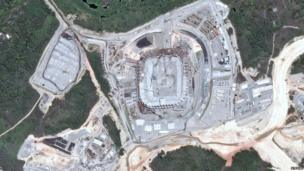 A handout picture by Astrium Services shows a view from Pleiades Satellite of the Pernambuco Arena, Recife, 29 October 2012.