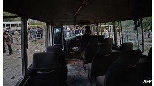 The interior of a bombed bus, Kabul, June 11