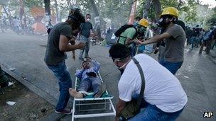 Injured protester in Taksim Square, Istanbul, 11 June 2013