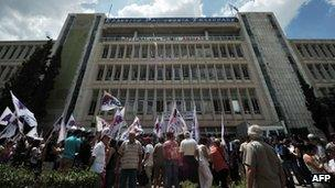 Protesters gather outside ERT headquarters in Athens (12 June 2013)