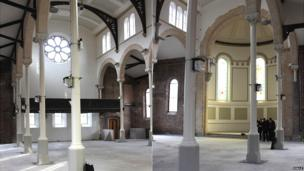 Interior of Halle St Peter's before completion of renovation