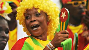 Togolese football supporter in Lome, Togo - Sunday 7 June 2013
