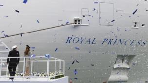 Duchess of Cambridge with ship captain Tony Draper
