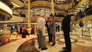 Duchess of Cambridge viewing Royal Princess's atrium
