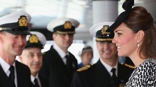 Duchess of Cambridge meeting the ship's crew