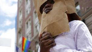 A Ugandan asylum seeker taking part in the gay pride parade in Boston, US - Saturday 8 June 2013