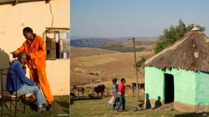 L: A man getting a hair cut in Qunu, South Africa. R: People next to a small green-painted house in Mvezo, South Africa - Thursday 13 June 2013