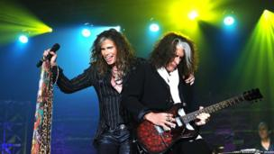Steven Tyler and Joe Perry of Aerosmith perform at the Songwriters Hall of Fame