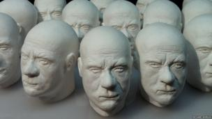 Plaster busts of Damien Hirst's head