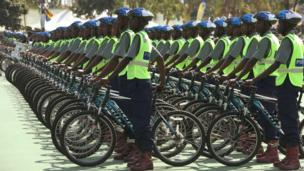 Zimbabwe police officers with bicycles at a passing-out parade in Harare - Thursday 13 June 2013