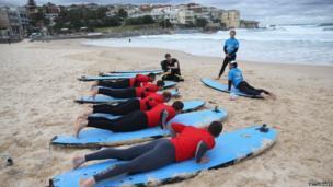 Surfing lesson on Bondi beach