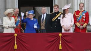 Camilla, Duchess of Cornwall, Camilla, Duchess of Cornwall, Princess Anne, Princess Royal, Queen Elizabeth II, Prince Andrew, Duke of York, Prince Harry, Catherine, Duchess of Cambridge and Prince William, Duke of Cambridge stand on the balcony at Buckingham Palace