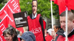 A cardboard cut-out of David Cameron was brought to the anti-G8 protest