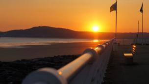 Sunset at Aberavon Beach, Neath Port Talbot.