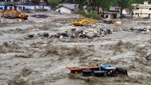 A flooded river in Uttarkashi district, India