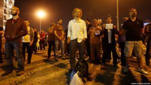 Erdem Gunduz stands in a silent protest at Taksim Square