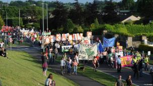 On Monday night, protesters marched through Enniskillen, County Fermanagh, where the G8 summit is taking place.