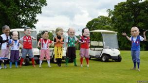 G8 leaders caricatures playing golf