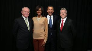 Martin McGuinness, Michelle and Barrack Obama and Peter Robinson
