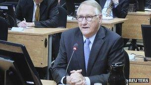 Former Montreal mayor Gerald Tremblay is seen on a television screen as he gives testimony at the Charbonneau commission in Montreal, 25 April 2013