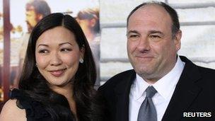 James Gandolfini and wife Deborah Lin in Los Angeles on 11 April 2011