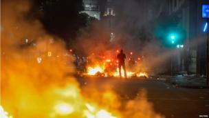 Bonfires in Rio de Janeiro on 20 June 2013