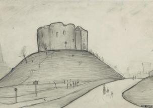 Clifford's Tower, York by LS Lowry