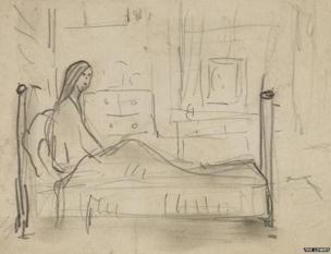 Figure in Bed by LS Lowry