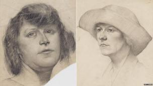 Head of a Girl and Head of a Woman in a Feathered Hat by LS Lowry