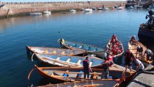 Seal and skiffs at Dunbar Harbour