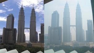 Before and after shots of Kula Lumpur. Photo: Jonathan Carter