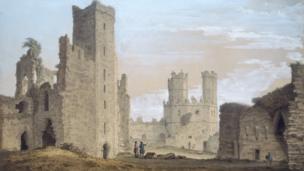 Caernarvon Castle, 1777 gan Samuel Hieronymus Grimm (1733-1794)