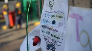 Letter from a well-wisher outside the Medi-Clinic Heart Hospital in Pretoria on 24 June 2013