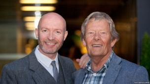 Scottish comedian Craig Hill with film critic and historian Derek Malcolm, one of the jurors on the panle of the Michael Powell Award