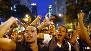 Demonstrators shout slogans during a protest for better public services, 24 June