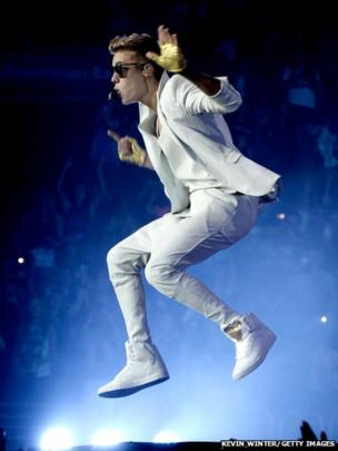 Justin Bieber performs at The Staples Centre in California