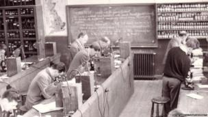 Students at work in the chemistry Lab in 1949