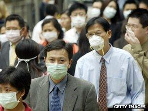 People in Hong Kong wear face masks to protect against SARS