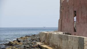 US President Barack Obama looking out to sea from Goree island, Senegal - Thursday 27 June 2013
