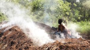 A man tending to charcoal-making wood piles in South Sudan - Friday 21 June 2013