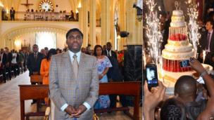 L: A mass for Teodorin Nguema Obiang Mangue in Malabo cathedral R: People taking pictures of the birthday cake at a hotel - both in Malabo, Equatorial Guinea - Tuesday 25 June 2013