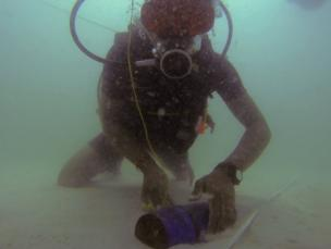 A diver comes across a UXO in the search