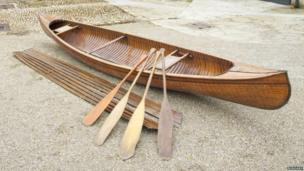 15ft-long Canadian wooden canoe, circa 1925. Pic: Bonhams
