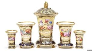 Spode beaded vases, circa 1817-19. Pic: Bonhams