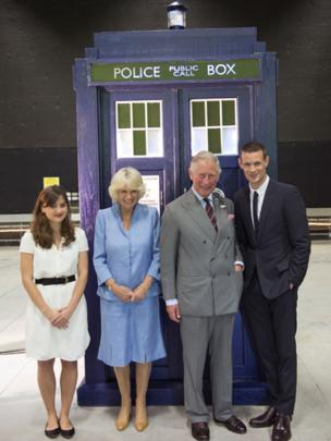 The Prince of Wales and Duchess of Cornwall outside the Tardis