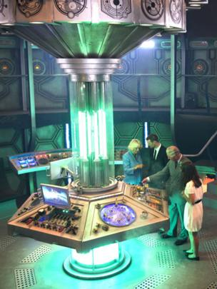 The Duchess of Cornwall and the Prince of Wales are shown around the Tardis