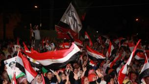 People wave flags in Egypt.